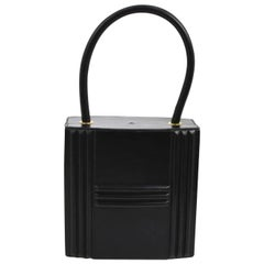 Hermes Black Leather Gold Pad Lock Small Mini Evening Top Handle Satchel Bag