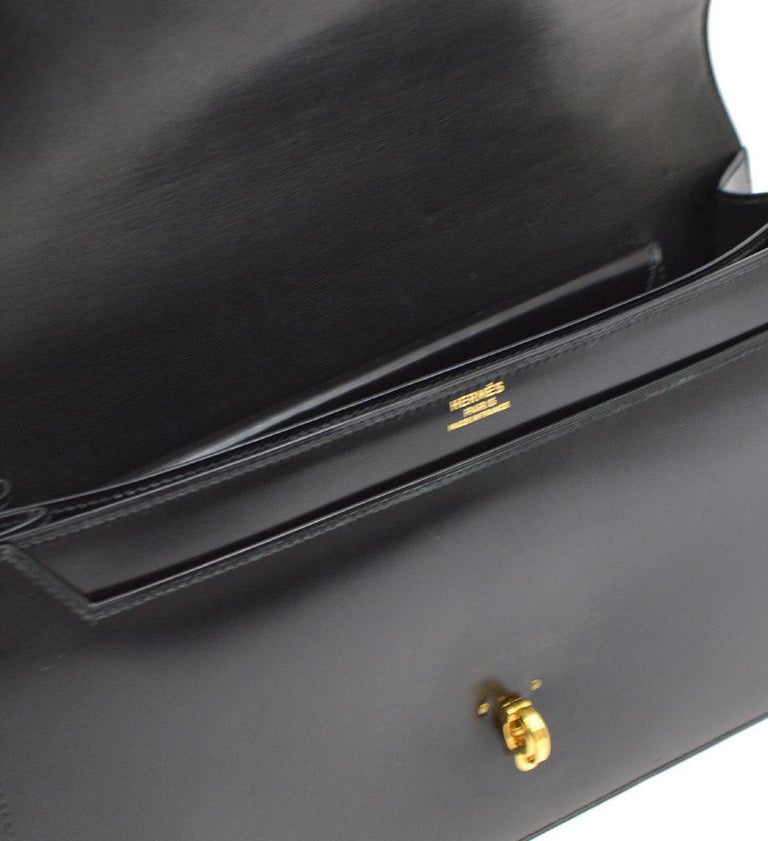 Hermes Black Leather Gold Rope Kelly Style Evening Top Handle Satchel Flap Bag 3