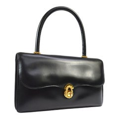 Hermes Black Leather Gold Rope Kelly Style Evening Top Handle Satchel Flap Bag