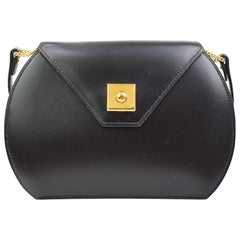 Hermes Black Leather Gold Round Small Mini Evening Shoulder Flap Bag in Box