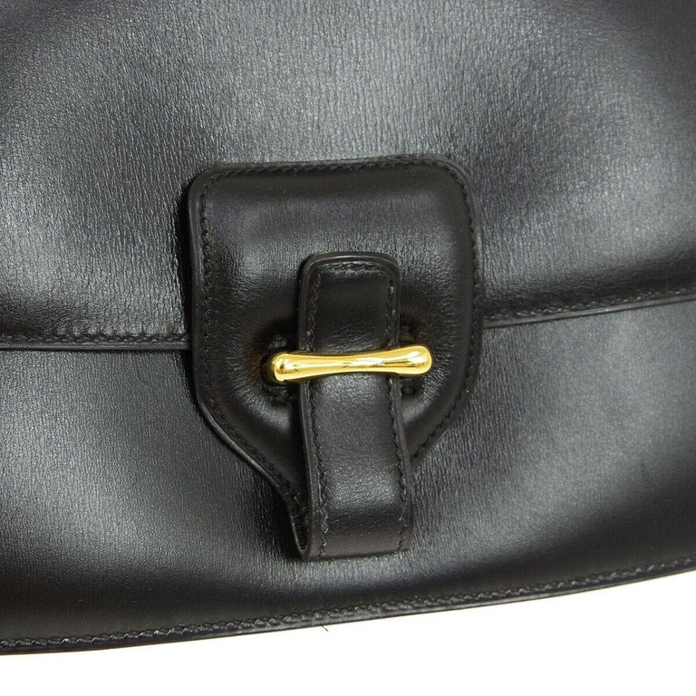 Hermes Black Leather Gold Saddle Fold In Flap Shoulder Bag in Box   Leather Gold tone hardware Leather lining Made in France Shoulder strap drop 16