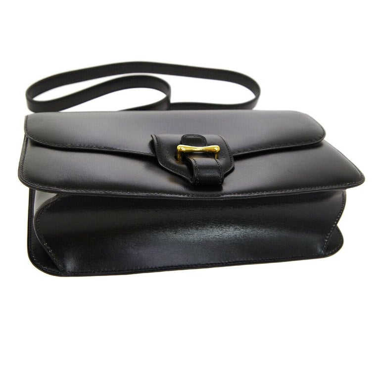 Hermes Black Leather Gold Saddle Fold In Flap Shoulder Bag in Box  In Good Condition For Sale In Chicago, IL