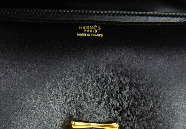 Women's Hermes Black Leather Gold Saddle Fold In Flap Shoulder Bag in Box  For Sale