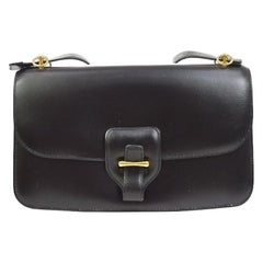 Hermes Black Leather Gold Saddle Fold In Flap Shoulder Bag in Box
