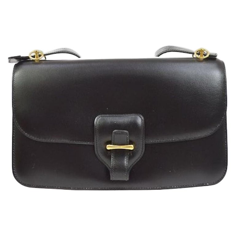Hermes Black Leather Gold Saddle Fold In Flap Shoulder Bag in Box  For Sale