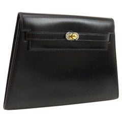 Hermes Black Leather Gold Silver Toggle Envelope Evening Clutch Bag