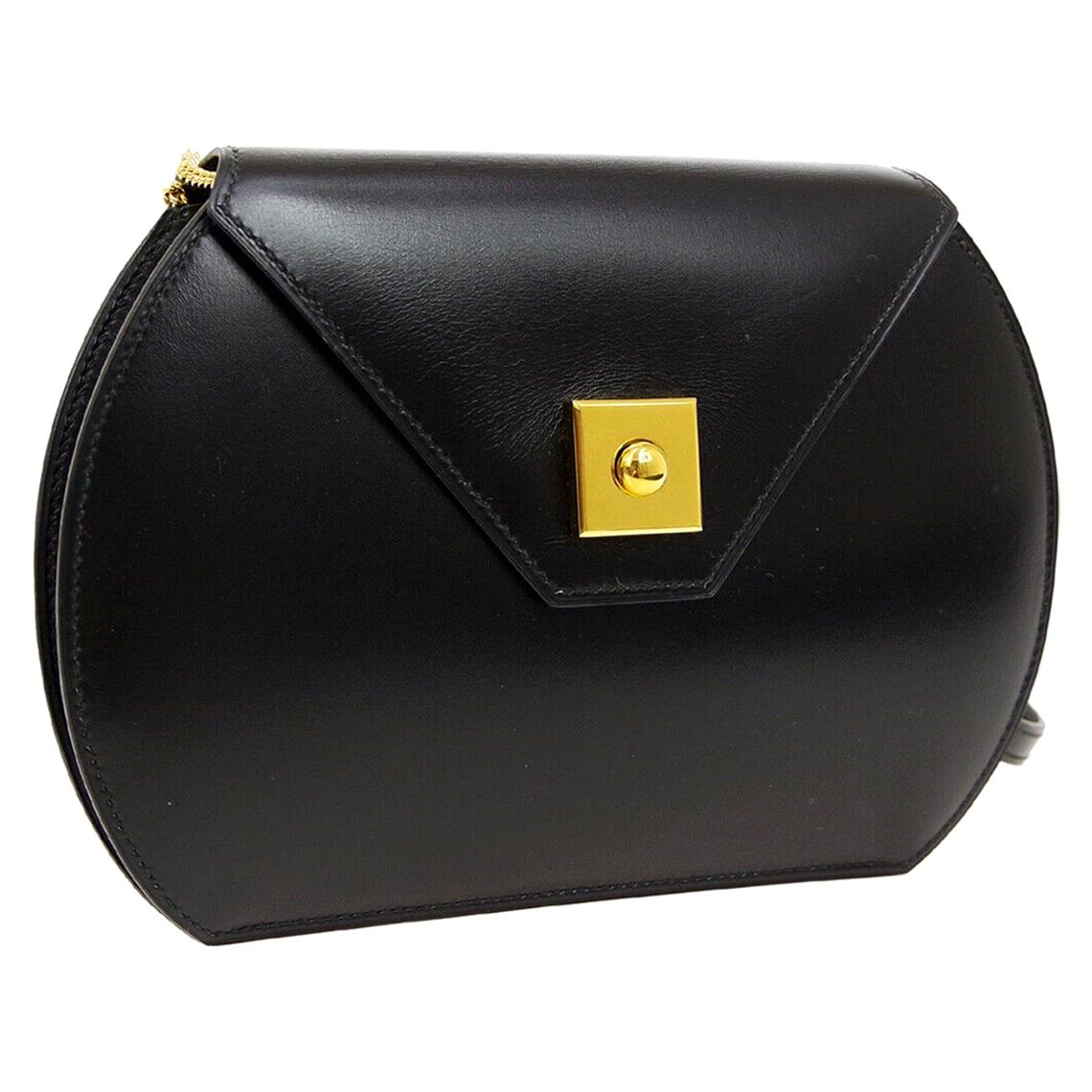 Hermes Black Leather Gold Small Mini Evening Crossbody Shoulder Flap Bag