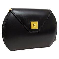 Hermes Black Leather Gold Small Mini Evening Crossbody Shoulder Flap Bag