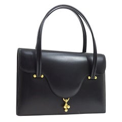 Hermes Black Leather Gold Top Handle Satchel Kelly Style Evening Flap Bag