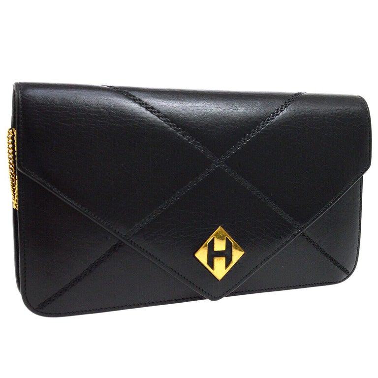 Hermes Black Leather 'H' Gold Logo Charm Chain Evening Envelope Clutch Bag For Sale
