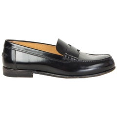 HERMES black leather KENNEDY Loafers Shoes 36.5
