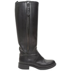 Hermes Black Leather Knee-High Riding Boots