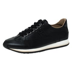 Hermes Black Leather Lace Up Low Top Sneakers Size 41