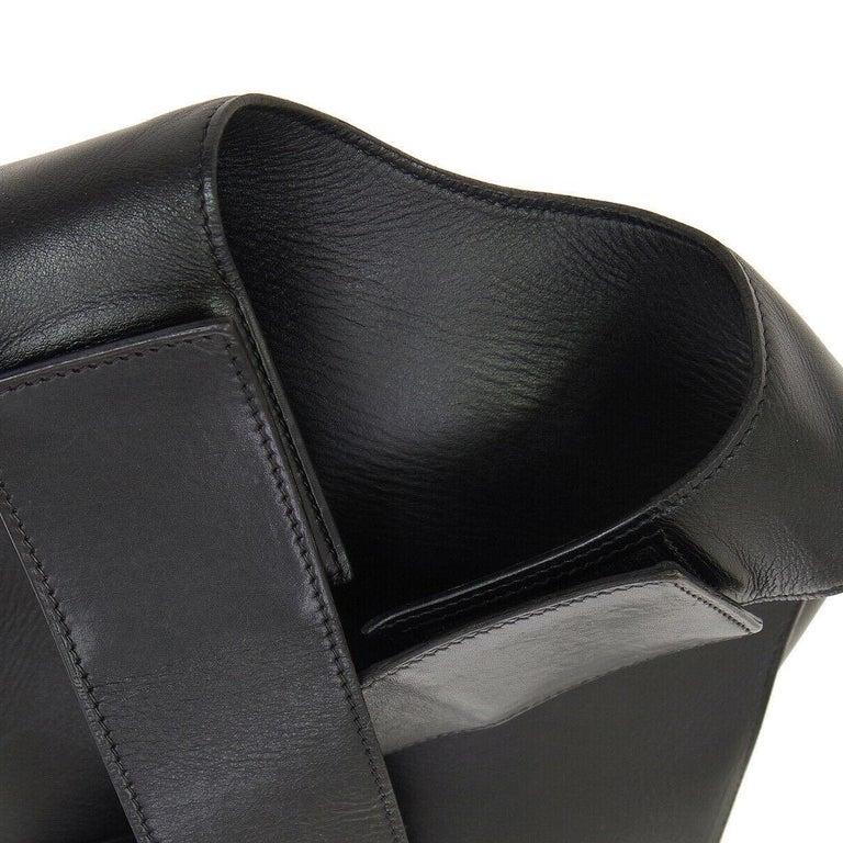 1806e6acc8 Hermes Black Leather Men's Women's Carryall Travel Shoulder Backpack Bag  Leather Velcro closure Made in France
