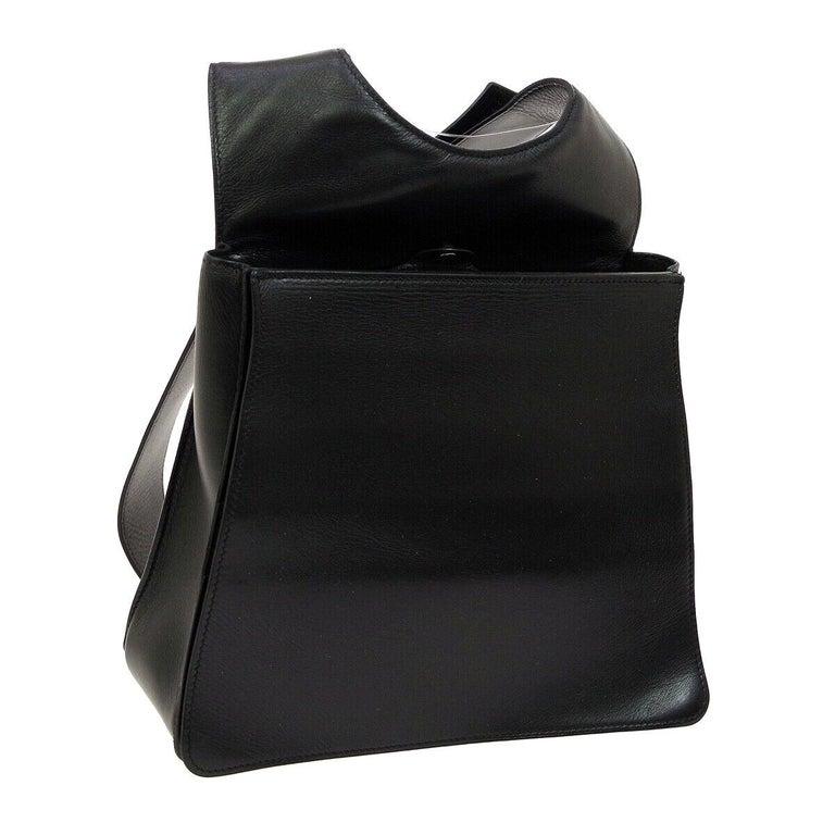 0df2114f87 Hermes Black Leather Men's Women's Carryall Travel Shoulder Backpack Bag  For Sale