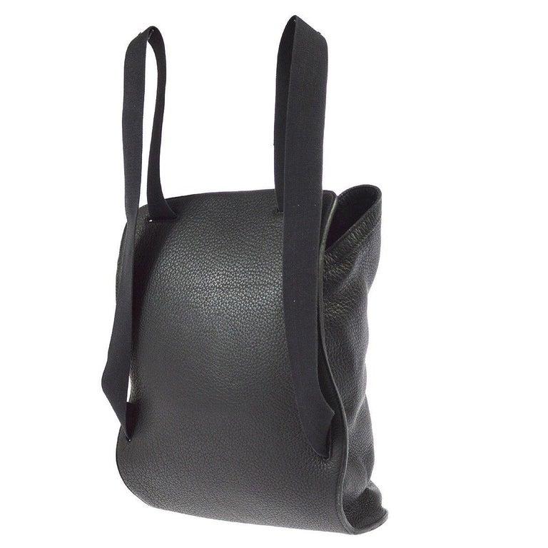 fa0f017e91 Hermes Black Leather Men's Women's Travel Carryall Shoulder Backpack For  Sale 1