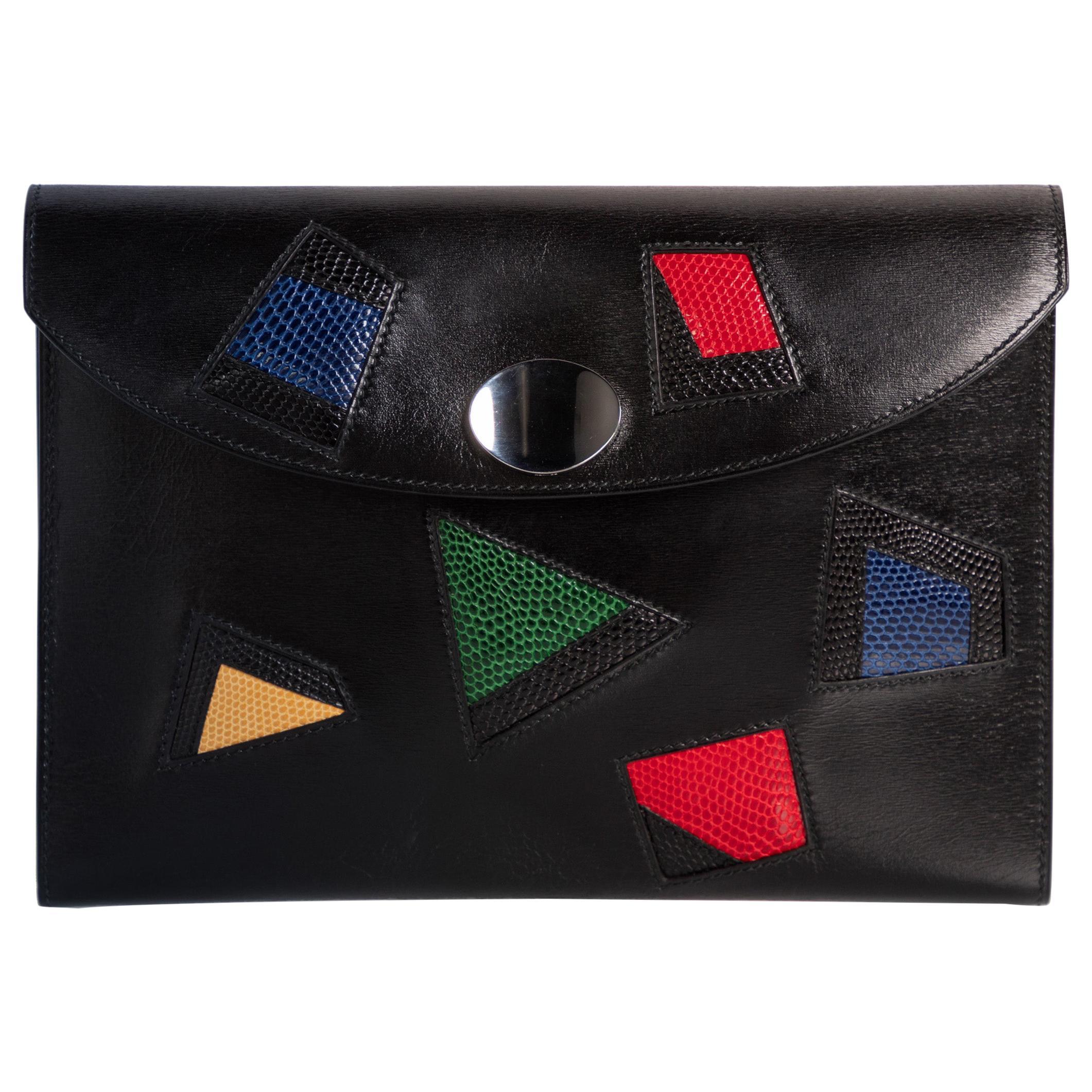 Hermes Black Leather Multicolored Lizard Rio Nuage Clutch Rare, 1980s