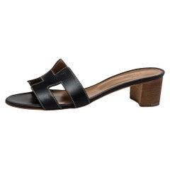 Hermes Black Leather Oasis Slide Sandals Size 38