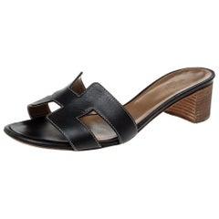 Hermes Black Leather Oasis Slide Sandals Size 39