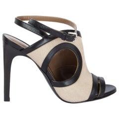 HERMES black leather & off-white canvas RAFAELLA Sandals Shoes 38