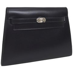 Hermes Black Leather Palladium Evening Envelope Clutch Bag