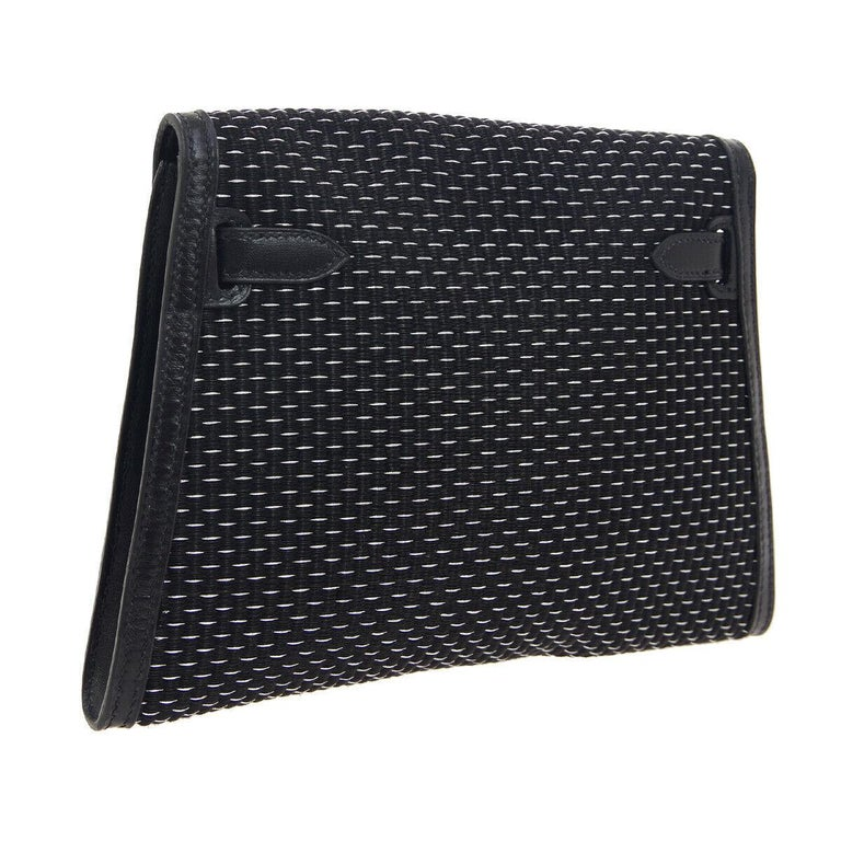 Hermes Black Leather Palladium Evening Envelope Clutch Bag in Box In Good Condition For Sale In Chicago, IL