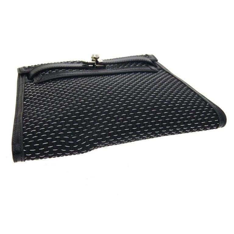 Women's Hermes Black Leather Palladium Evening Envelope Clutch Bag in Box For Sale