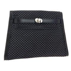 Hermes Black Leather Palladium Evening Envelope Clutch Bag in Box
