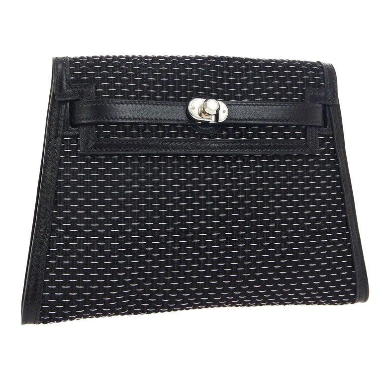 Hermes Black Leather Palladium Evening Envelope Clutch Bag in Box For Sale