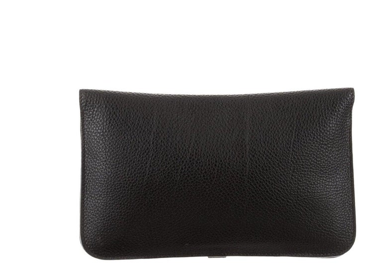 Women's Hermes Black Leather Palladium Evening Envelope Flap Clutch Wallet in Box For Sale