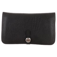 Hermes Black Leather Palladium Evening Envelope Flap Clutch Wallet in Box