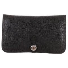 Hermes Black Leather Palladium Evening Envelope Flap Clutch Wallet in Box