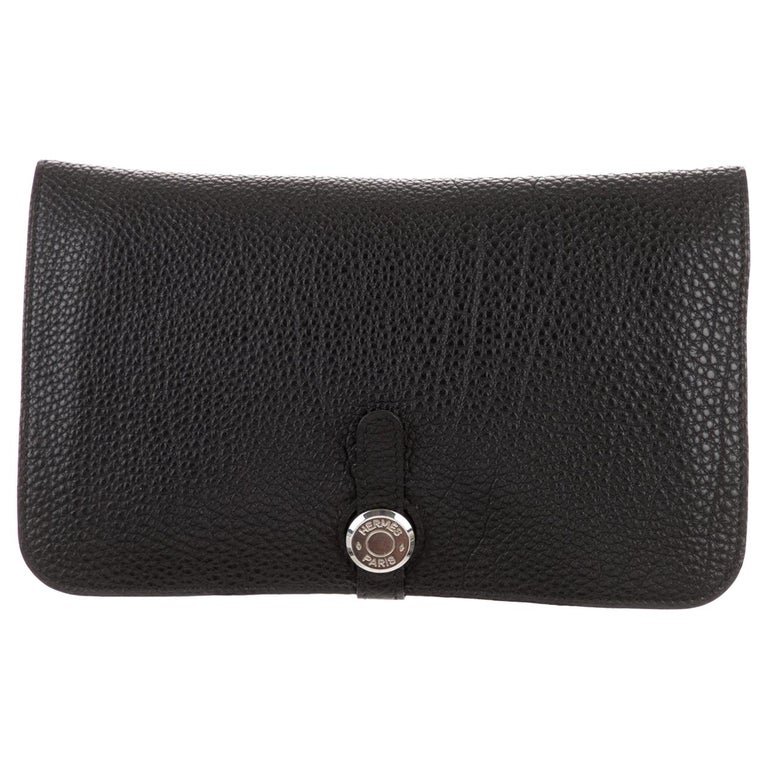 Hermes Black Leather Palladium Evening Envelope Flap Clutch Wallet in Box For Sale