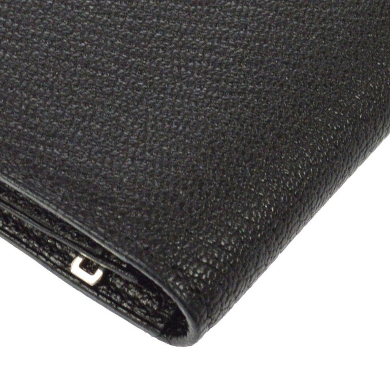 Women's Hermes Black Leather Palladium 'H' Clutch Wallet in Box