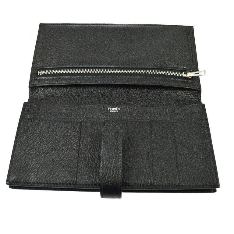Hermes Black Leather Palladium 'H' Clutch Wallet in Box 1