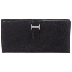 Hermes Black Leather Palladium 'H' Clutch Wallet in Box