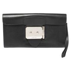 Hermes Black Leather Palladium Hardware Goodlock Clutch