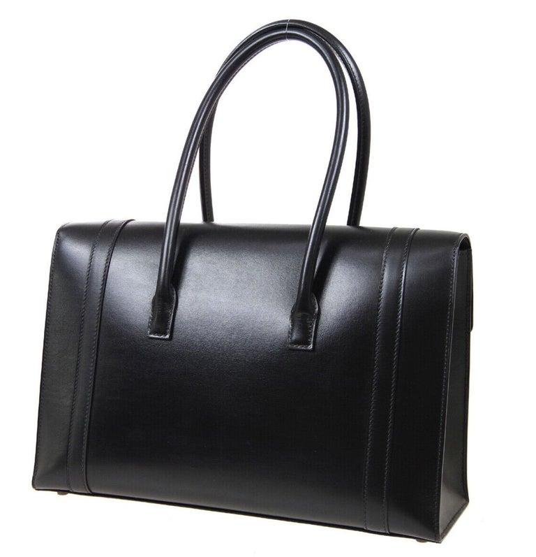Women's Hermes Black Leather Palladium Saddle Carryall Top Handle Satchel Kelly Flap Bag