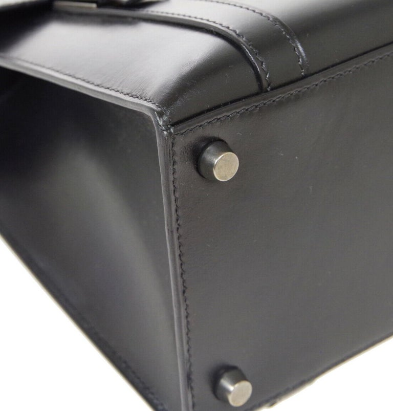 Hermes Black Leather Palladium Saddle Carryall Top Handle Satchel Kelly Flap Bag 1