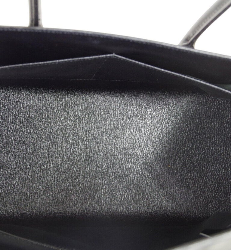 Hermes Black Leather Palladium Saddle Carryall Top Handle Satchel Kelly Flap Bag 2