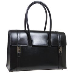 Hermes Black Leather Palladium Saddle Carryall Top Handle Satchel Kelly Flap Bag