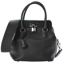 Hermes Black Leather Palladium Tool Top Handle Satchel Tote Shoulder Bag in Box