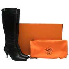 Hermes Black Leather Point-toe Heeled Long Boots 37 (IT)
