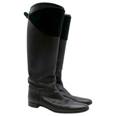Hermes Black Leather Riding Boots 39