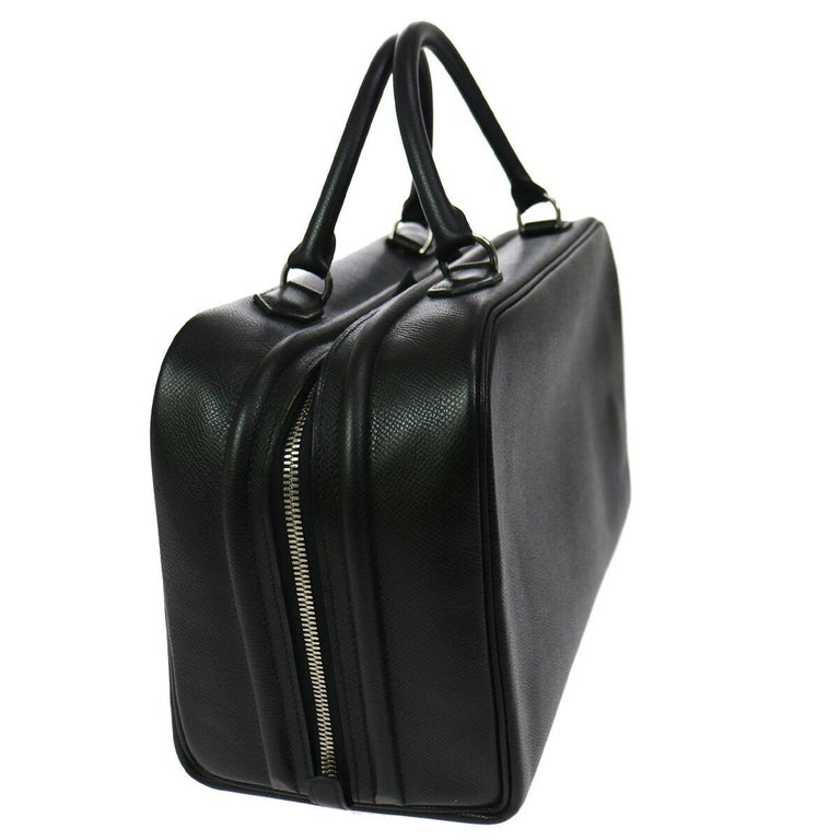 Hermes Black Leather Silver Boston Top Handle Satchel Carryall Tote Bag In Good Condition For Sale In Chicago, IL