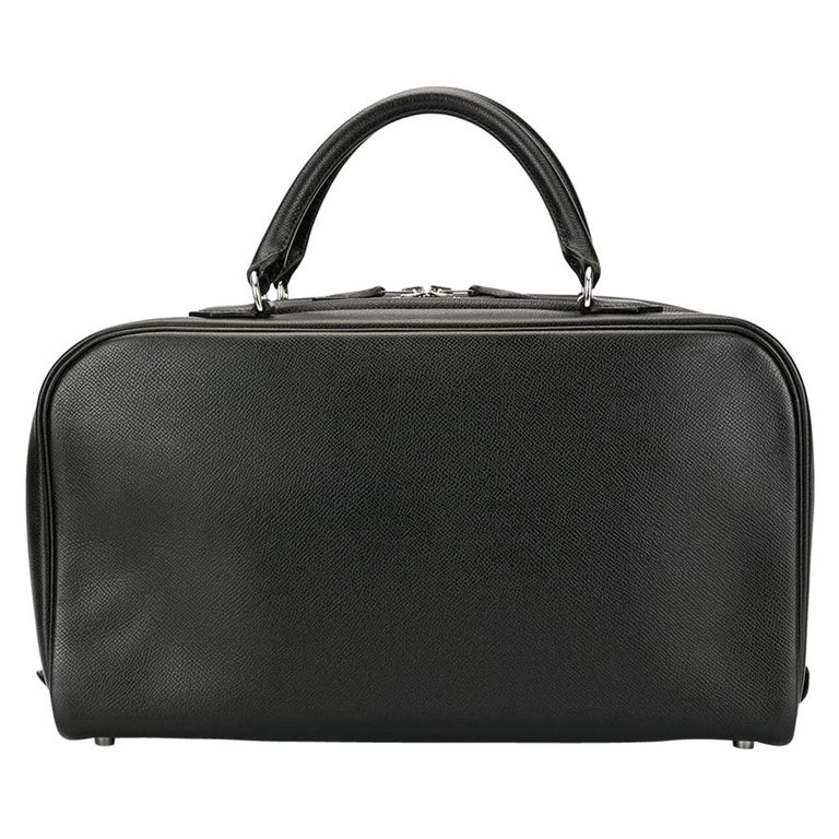 Hermes Black Leather Silver Boston Top Handle Satchel Carryall Tote Bag For Sale