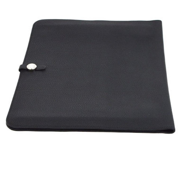 Hermes Black Leather Silver Large LapTop Business Envelope Clutch CarryAll Bag In Good Condition For Sale In Chicago, IL