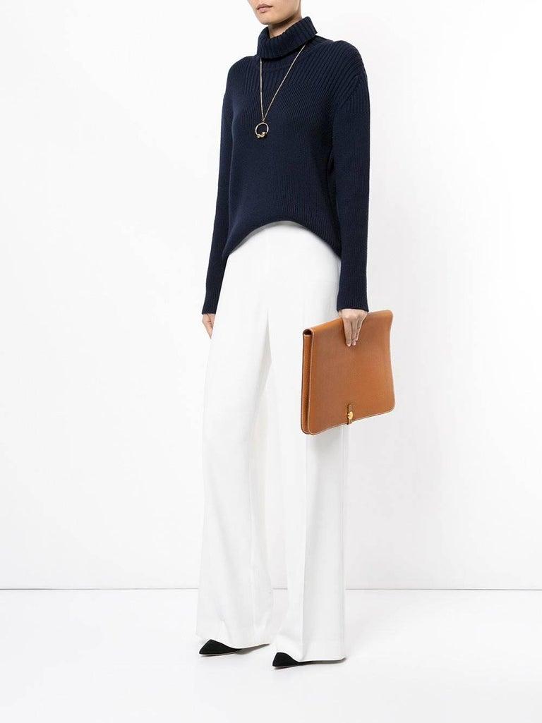 Hermes Black Leather Silver Large LapTop Business Envelope Clutch CarryAll Bag For Sale 2