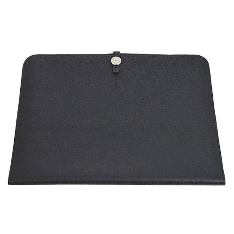 Hermes Black Leather Silver Large LapTop Business Envelope Clutch CarryAll Bag For Sale