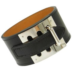 Hermes Black Leather Silver Wide Men's Women's Buckle Cuff Bracelet in Box